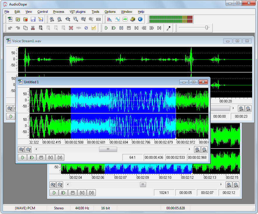 Audiodope in a FREE audio editor and recorder that can process most audio formats. You can record from any source line in, microphone, live streaming etc. Bundled with a large array of VST plug-ins and effects.